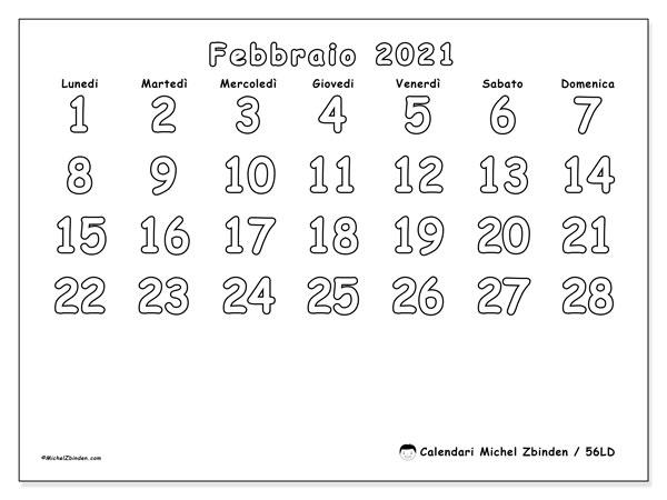 "Calendario ""56LD"" febbraio 2021 da stampare   Michel Zbinden IT"