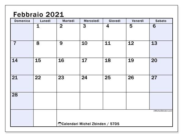Calendario febbraio 2021, 57DS. Calendario gratuito da stampare.