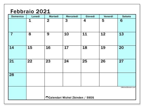 Calendario febbraio 2021, 59DS. Orario da stampare gratis.