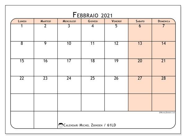 Calendario febbraio 2021, 61LD. Calendario stampabile gratuito.
