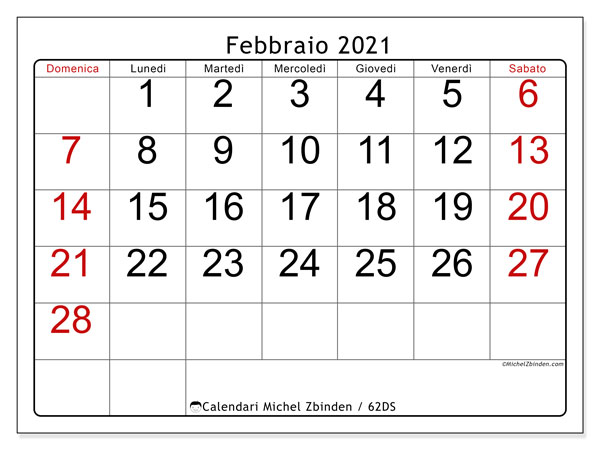 "Calendario 21 Febbraio 2021 Calendario ""62DS"" febbraio 2021 da stampare   Michel Zbinden IT"