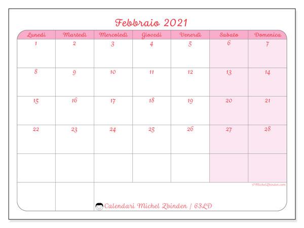 Calendario febbraio 2021, 63LD. Calendario gratuito da stampare.
