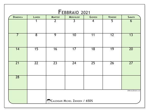 Calendario febbraio 2021, 65DS. Calendario per il mese da stampare gratuitamente.