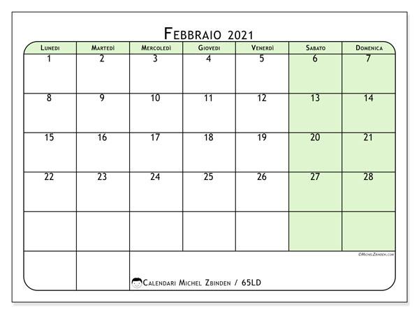 Calendario febbraio 2021, 65LD. Orario da stampare gratis.