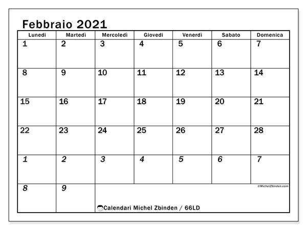 "Calendario ""66LD"" febbraio 2021 da stampare   Michel Zbinden IT"