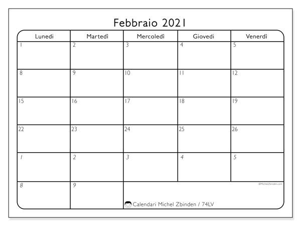 Calendario febbraio 2021, 74DS. Orario da stampare gratis.