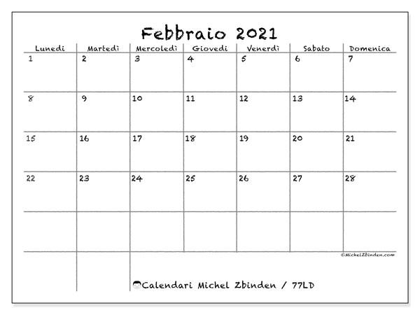 "Calendario ""77LD"" febbraio 2021 da stampare   Michel Zbinden IT"