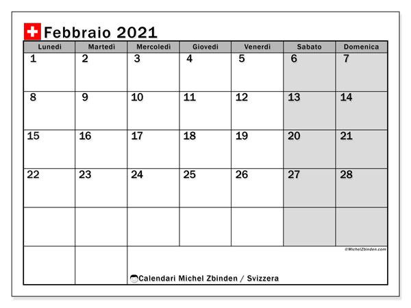 Calendario febbraio 2021, con giorni festivi della Svizzera. Calendario da stampare gratuita con giorni festivi.