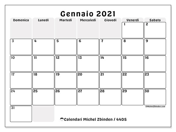 "Calendario ""44DS"" gennaio 2021 da stampare   Michel Zbinden IT"