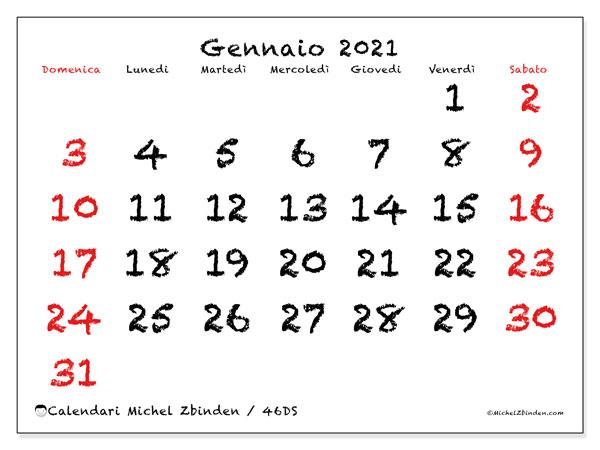 Calendario gennaio 2021, 46DS. Calendario per il mese da stampare gratuitamente.