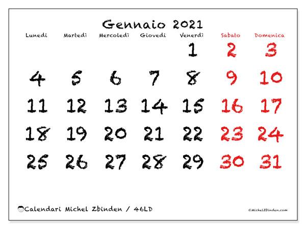 Calendario gennaio 2021, 46LD. Orario da stampare gratis.