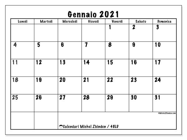 """Calendario """"48LD"""" gennaio 2021 da stampare   Michel Zbinden IT"""