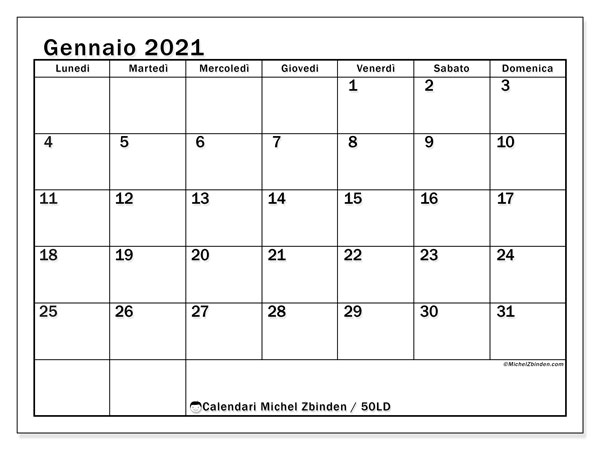 Calendario gennaio 2021, 50LD. Calendario stampabile gratuito.