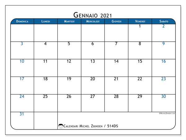 "Calendario Gennaio 2021 Colorato Calendario ""514DS"" gennaio 2021 da stampare   Michel Zbinden IT"