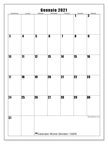Calendario gennaio 2021, 52DS. Calendario gratuito da stampare.