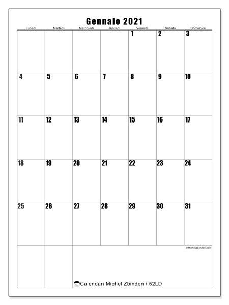 Calendario gennaio 2021, 52LD. Calendario mensile da stampare gratuitamente.