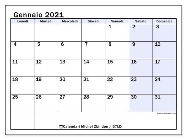Calendario gennaio 2021, 57LD. Calendario gratuito da stampare.