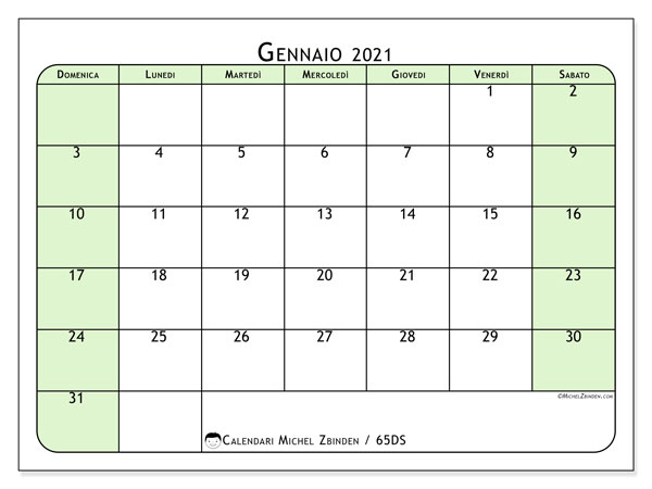 Calendario gennaio 2021, 65DS. Calendario da stampare gratis.