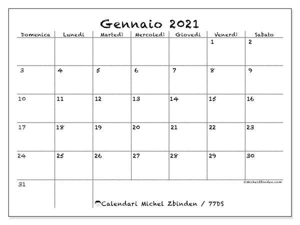 """Calendario """"77DS"""" gennaio 2021 da stampare   Michel Zbinden IT"""