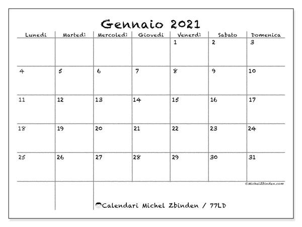 Calendario gennaio 2021, 77LD. Calendario da stampare gratis.