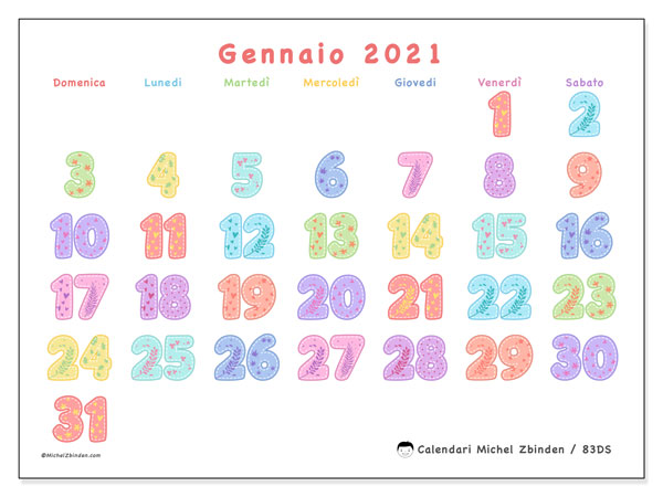 Calendario gennaio 2021, 83DS. Calendario gratuito da stampare.