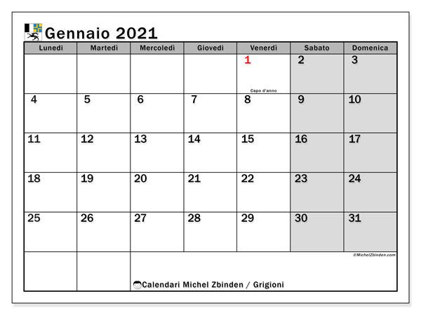 Calendario gennaio 2021, con giorni festivi dei Grigioni. Calendario da stampare gratuita con giorni festivi.