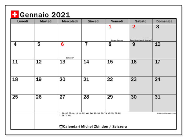 "Calendario Feste Svizzera 2021 Calendario ""Svizzera"" gennaio 2021 da stampare   Michel Zbinden IT"
