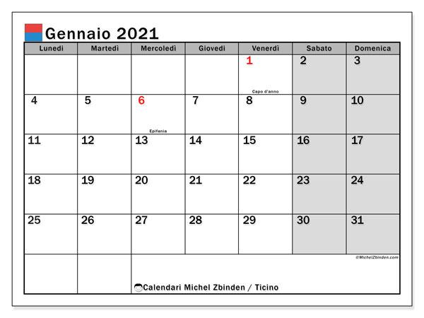 """Calendario """"Cantone Ticino"""" gennaio 2021 da stampare   Michel"""