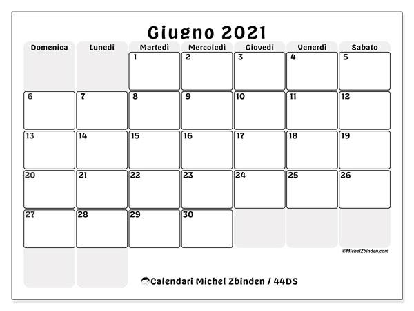 Calendario giugno 2021, 44DS. Calendario per il mese da stampare gratuitamente.