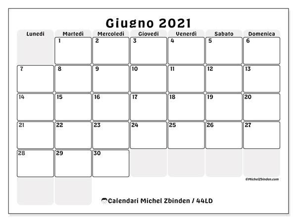 Calendario giugno 2021, 44LD. Calendario da stampare gratis.