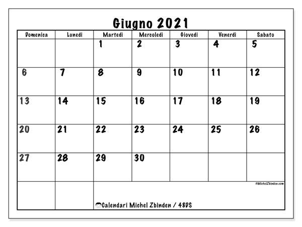 """Calendario Giugno Da Stampare 2021 Calendario """"48DS"""" giugno 2021 da stampare   Michel Zbinden IT"""
