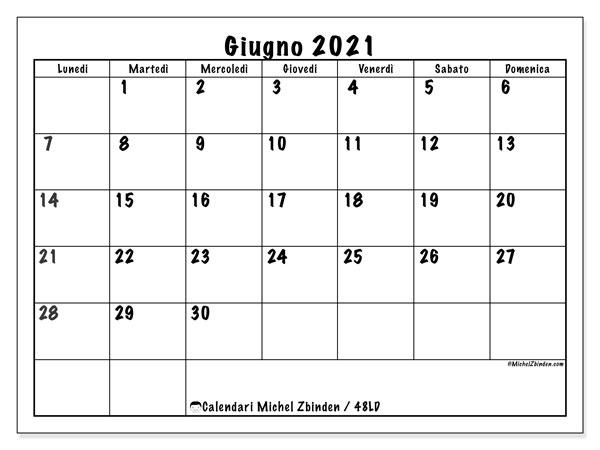 """Calendario """"48LD"""" giugno 2021 da stampare   Michel Zbinden IT"""