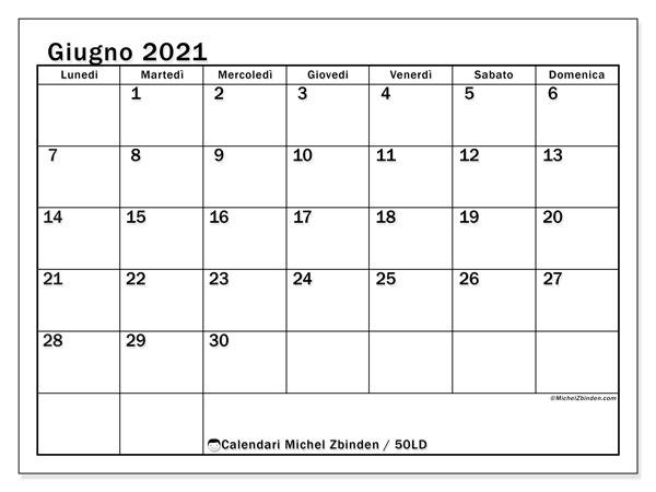 """Calendario """"50LD"""" giugno 2021 da stampare   Michel Zbinden IT"""