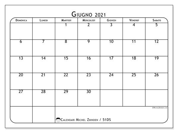 Calendario giugno 2021, 51DS. Calendario mensile da stampare gratuitamente.