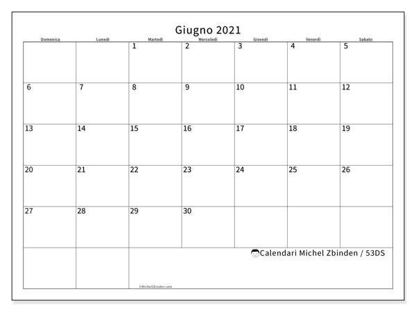 Calendario giugno 2021, 53DS. Calendario per la stampa gratis.