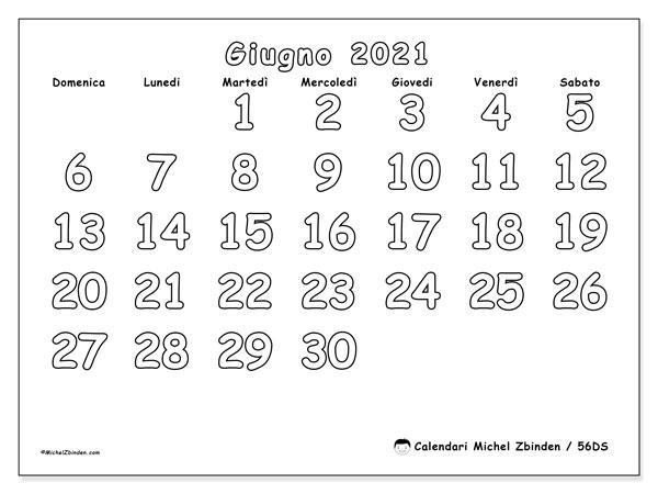 """Calendario """"56DS"""" giugno 2021 da stampare   Michel Zbinden IT"""