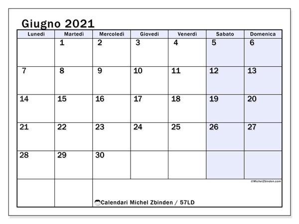 """Calendario """"57LD"""" giugno 2021 da stampare   Michel Zbinden IT"""