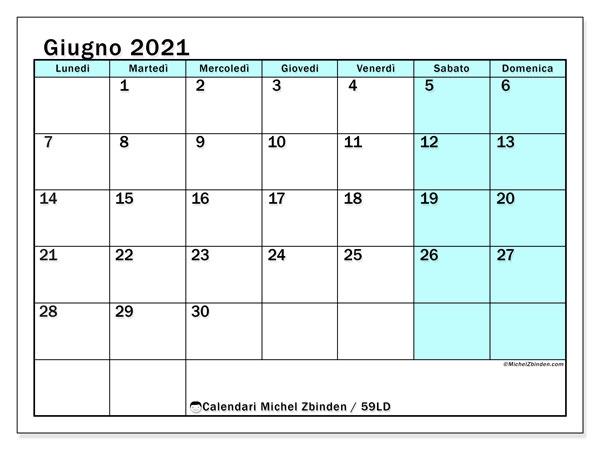 Calendario giugno 2021, 59LD. Calendario gratuito da stampare.