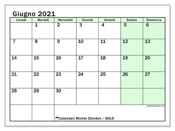 Calendario giugno 2021, 60LD. Calendario per il mese da stampare gratuitamente.