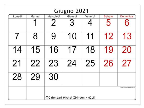 Calendario giugno 2021, 62LD. Calendario stampabile gratuito.