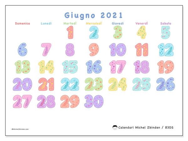 Calendario giugno 2021, 83DS. Calendario da stampare gratis.