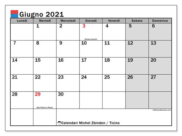 Calendario giugno 2021, con giorni festivi in Ticino. Calendario da stampare gratuita con giorni festivi.