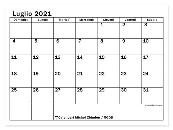 Calendario luglio 2021, 50DS. Calendario per la stampa gratis.