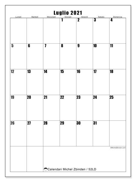 Calendario luglio 2021, 52LD. Calendario da stampare gratis.