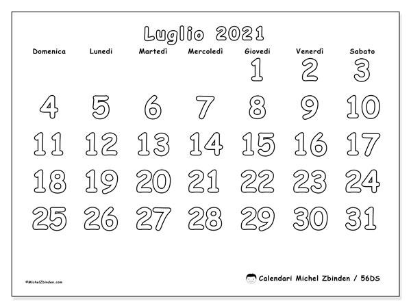 """Pagina Calendario Luglio 2021 Calendario """"56DS"""" luglio 2021 da stampare   Michel Zbinden IT"""
