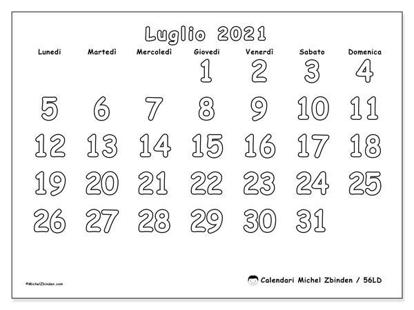 Calendario luglio 2021, 56LD. Orario da stampare gratis.