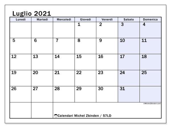 Calendario luglio 2021, 57LD. Calendario per il mese da stampare gratuitamente.