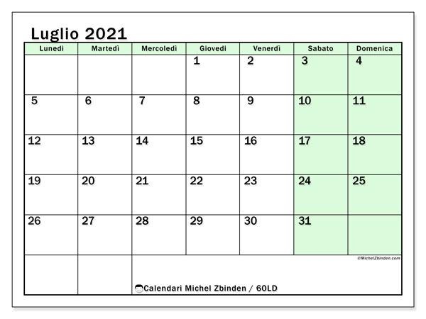Calendario luglio 2021, 60LD. Calendario da stampare gratis.