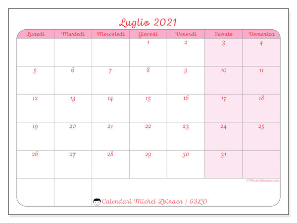 Calendario luglio 2021, 63LD. Orario da stampare gratis.
