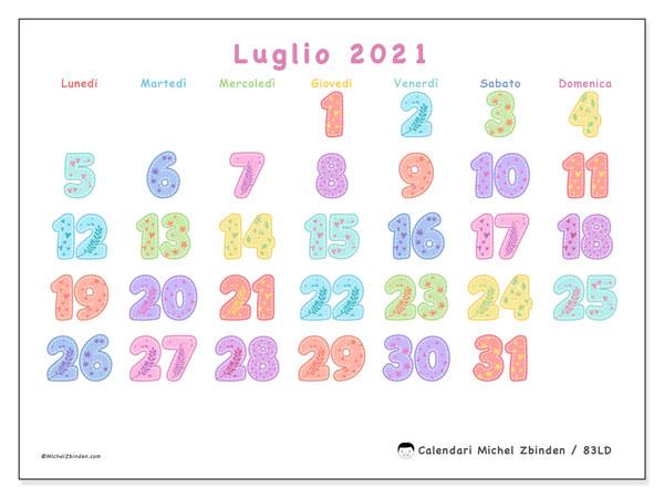 Calendario luglio 2021, 83LD. Calendario mensile da stampare gratuitamente.
